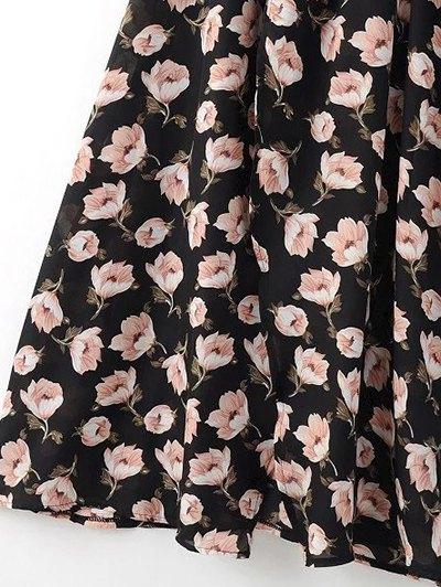 Crossover Printed Maxi Chiffon Dress - BLACK L Mobile
