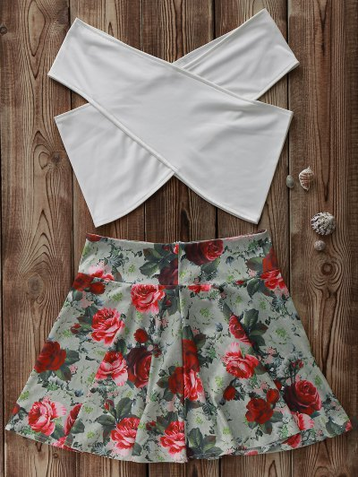 White Cross Crop Top and Floral A Line Skirt Suit - COLORMIX L Mobile