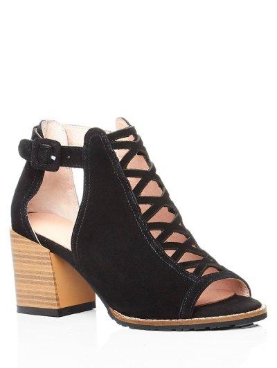 Criss-Cross Chunky Heel Peep Toe Shoes - BLACK 37 Mobile