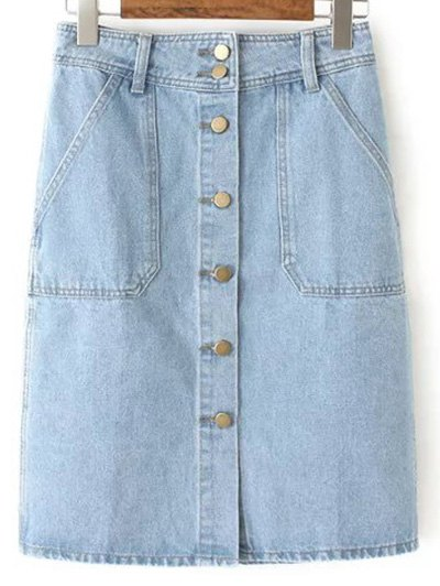 Button Closure Denim Midi Skirt - Light Blue