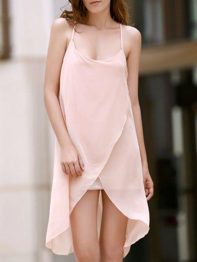 Irregular Hem Chiffon Cami Dress - APRICOT L Mobile