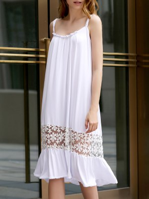 White Lace Splice Spaghetti Straps Dress - White