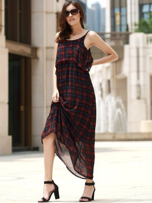 Plaid Flounce Cami Chiffon Maxi Dress - Checked
