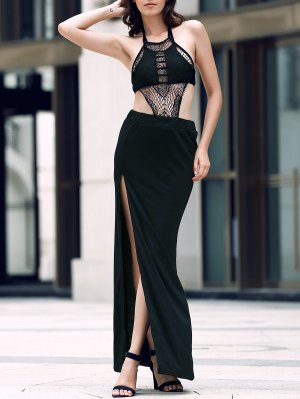 Sexy Backless Halter Neck Slit Maxi Dress - Black