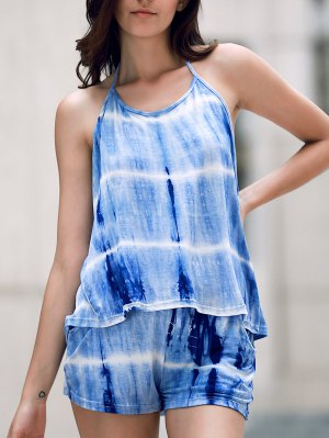 Print Halter Tank Top And Wide Leg Shorts Suit - Blue