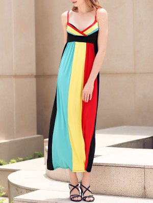 Color Block Empire Waist Maxi Dress