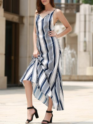 Backless Vertical Stripe Beach Dress - Blue And White