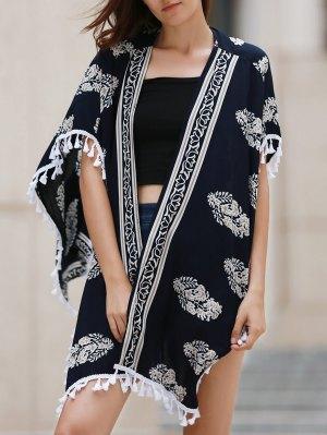 Printed Fringed Kimono Blouse - Cadetblue
