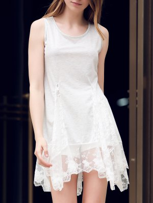 Lace Hem Swingy Tank Dress - Light Gray