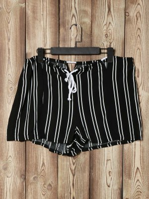 Loose Striped Cut Out High Waist Shorts - Black