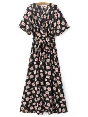 Crossover Printed Maxi Chiffon Dress - Black