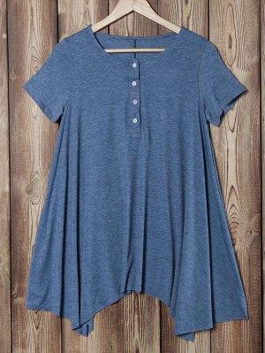 Oversized Asymmetric T-Shirt - Blue Gray