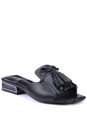 Fringe Solid Color Low Heel Slippers - Black