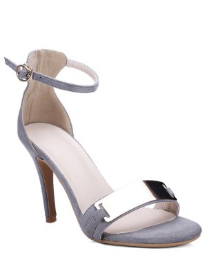 Stiletto Heel Ankle Strap Metal Sandals - Gray