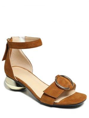 Metal Strange Heel Ankle Strap Sandals - Brown