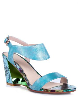 Print Candy Color Wedge Heel Sandals - Blue