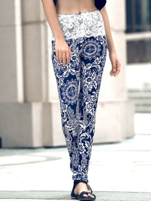 Ethnic Print Lace Spliced Skinny Pants - Black