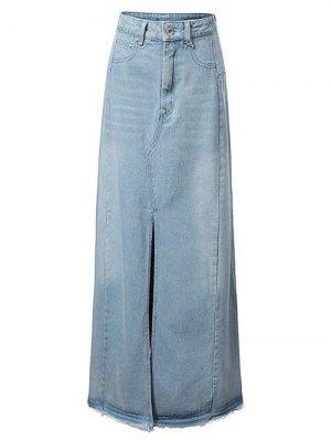 Front Slit Long Denim Skirt - Light Blue