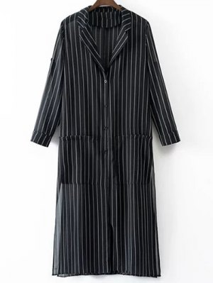 Striped Longline Sunscreen Blouse - Black