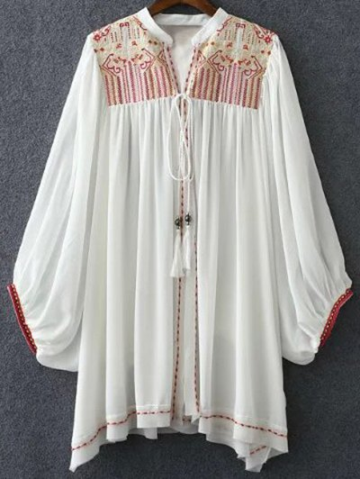 Retro Embroidery Stand Neck Batwing Sleeve Blouse