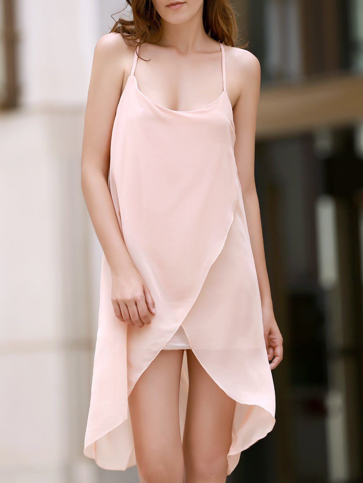 Spaghetti Strap Irregular Hem Chiffon Dress