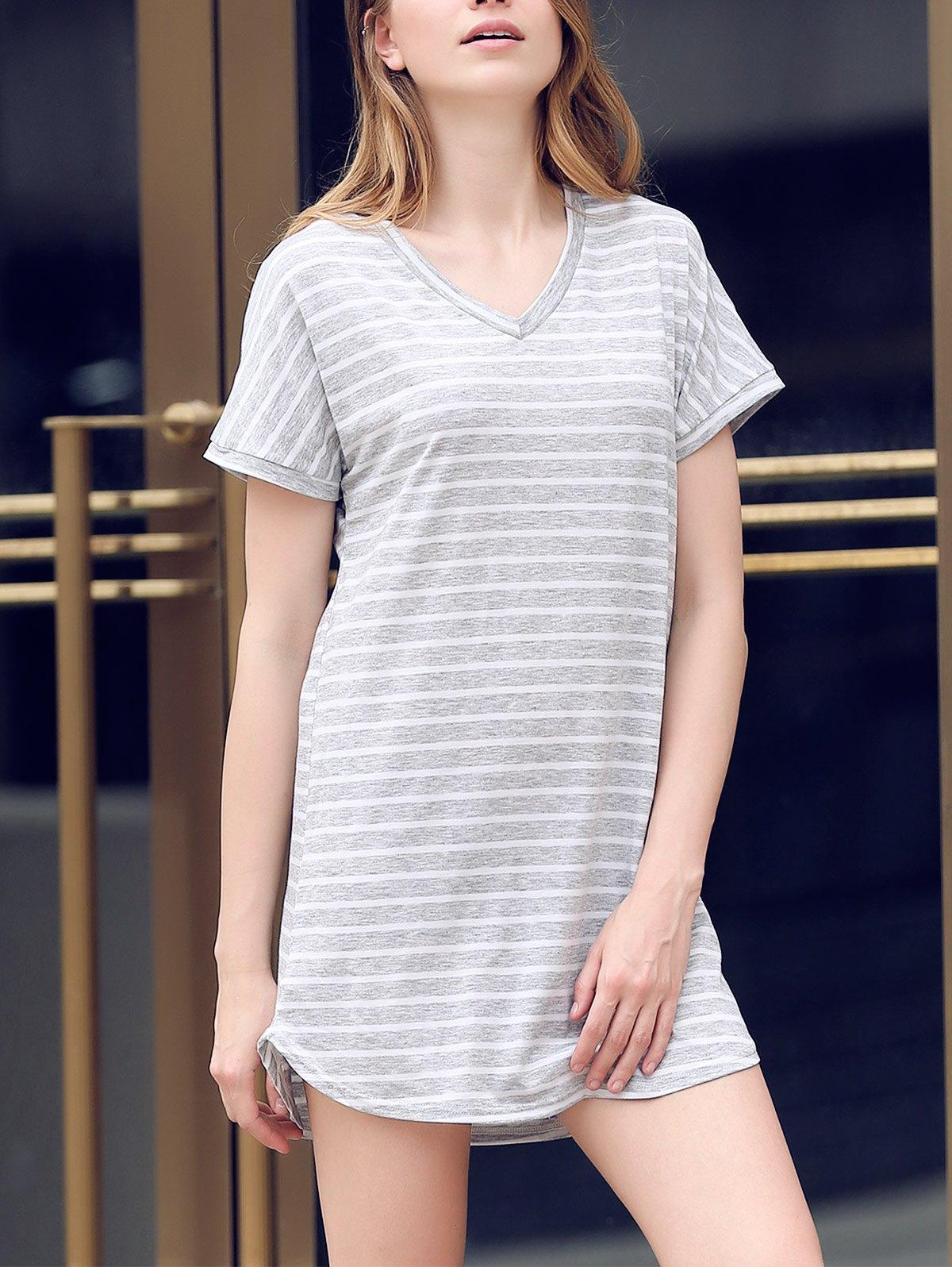 V-Neck Striped Tee DressClothes<br><br><br>Size: XL<br>Color: GRAY