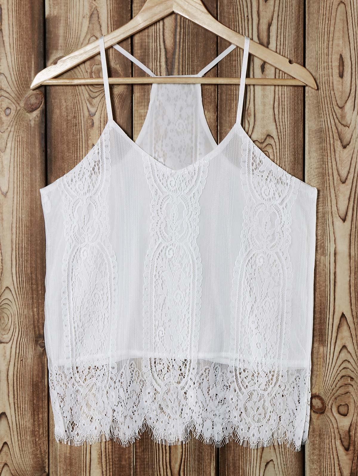 Cami White Lace Splice Tank Top