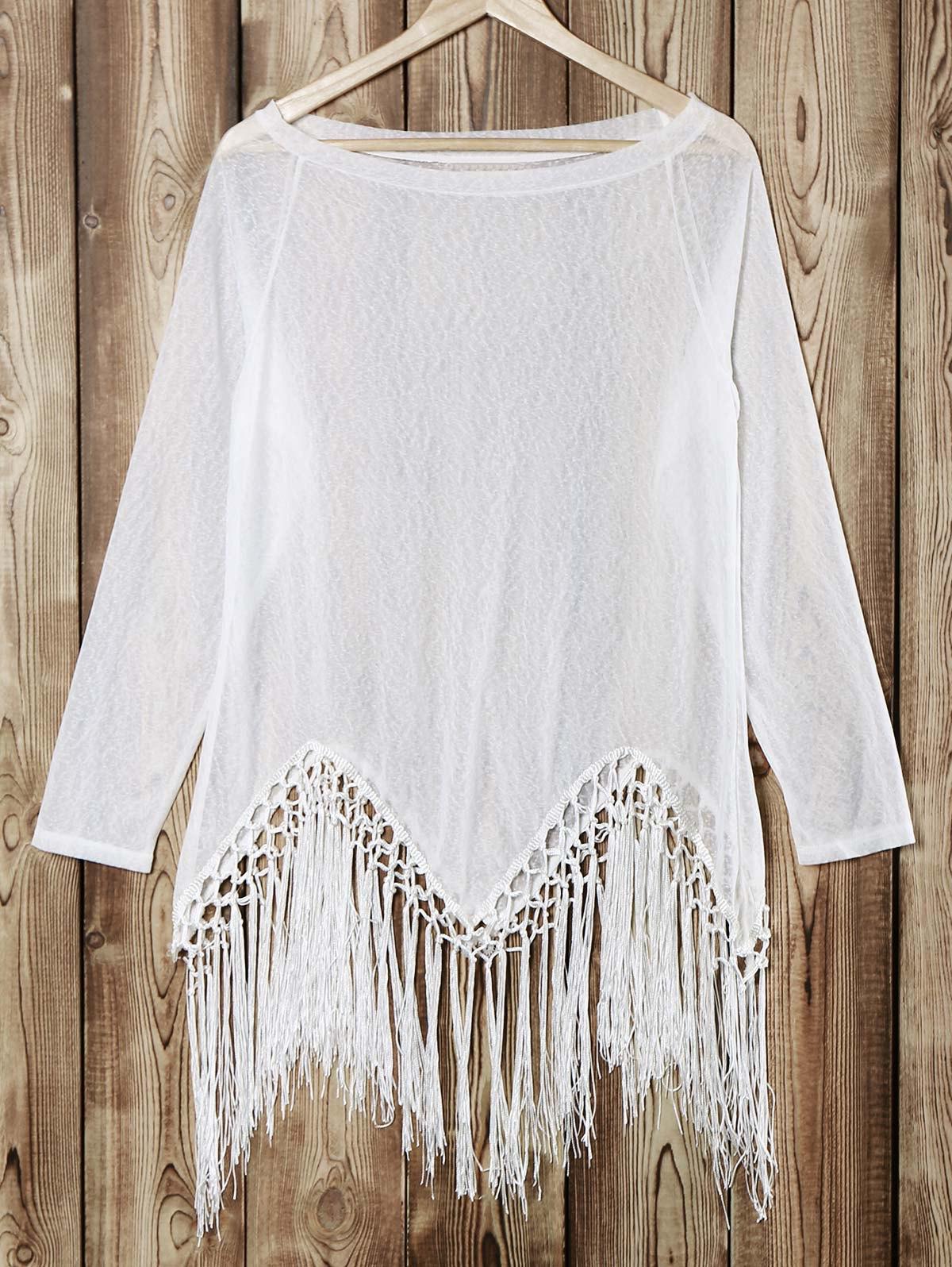 Scoop Neck Long Sleeve Tassels Knit T-Shirt