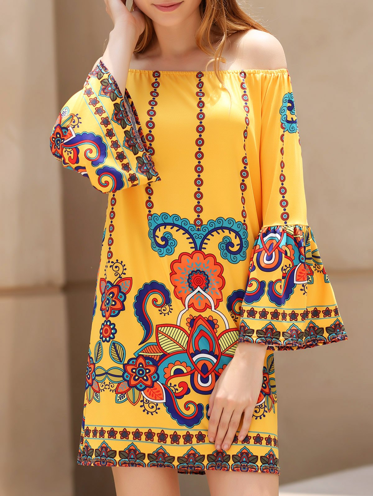 Scoop Neck 3/4 Sleeve Printed Dress