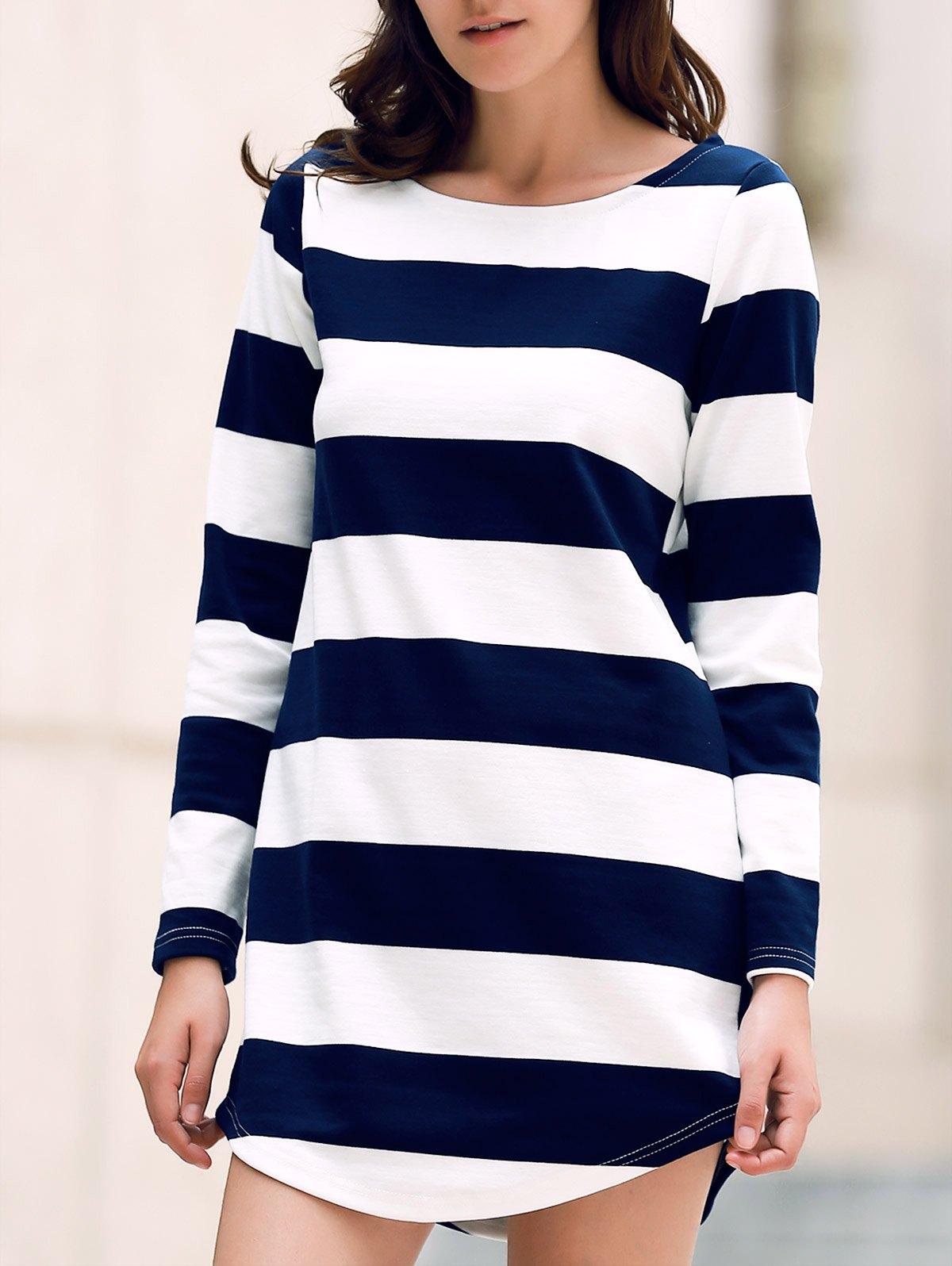 Round Neck Long Sleeve Stripe Dress