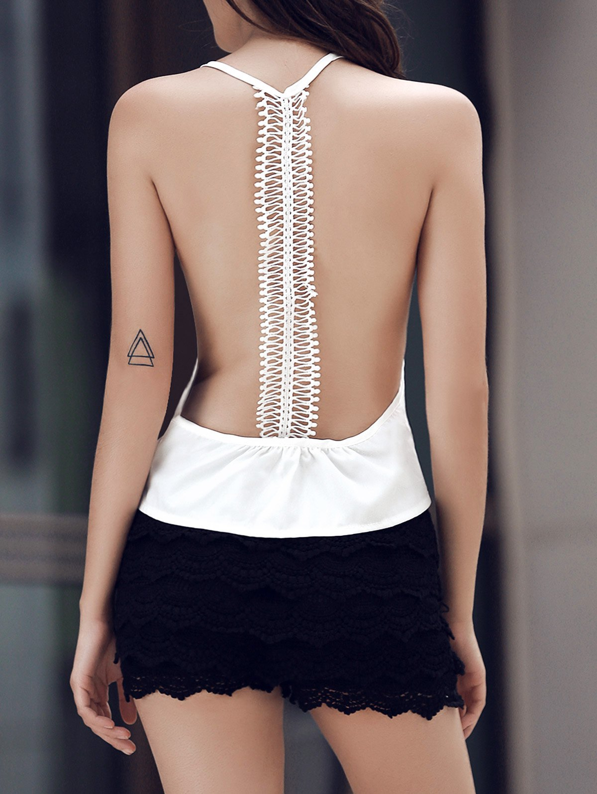 White Lace Splicing Round Neck Tank Top