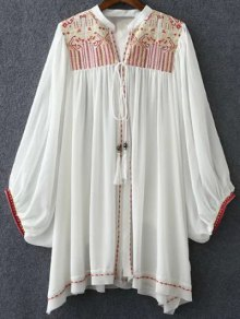 Retro Embroidery Stand Neck Batwing Sleeve Blouse - White M