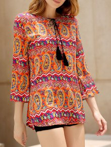Ethnic Print V Neck 3/4 Sleeves Dress