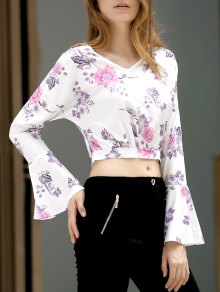 Fitting Floral Print V Neck Flare Sleeve Crop Top