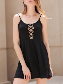 Fit and Flare Lace-Up Dress