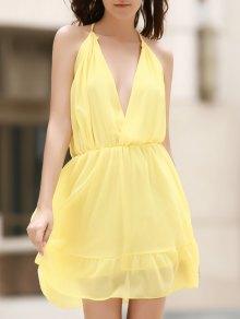 Deep V Neck Elastic Waist Cami Dress - Light Yellow