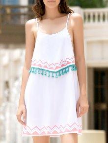Ethnic Print Cami Fringe Dress