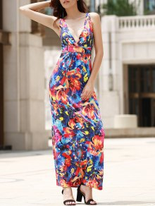 Empire Waist Printed Maxi Dress