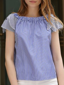 Off-The-Shoulder Striped Top - Blue