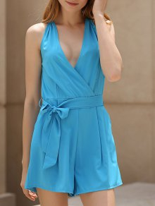 Deep V Neck Sleeveless Blue Romper