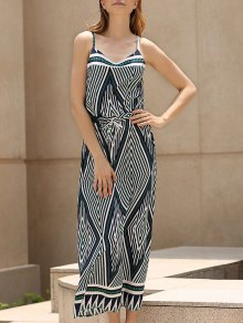Argyle Print Spaghetti Straps Maxi Dress