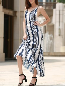 Backless Vertical Stripe Beach Dress