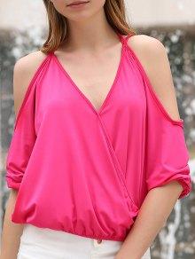 Cold Shoulder Plunging Neck Crossed T-Shirt - Rose