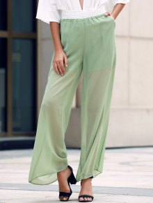 Lace Spliced Wide Leg See-Through Pants - Army Green L