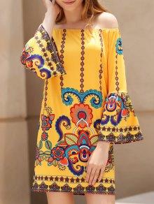 Printed Scoop Neck 3/4 Sleeve Dress - Earthy