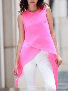 Irregular Hem Chiffon Round Neck Tank Top - Rose M