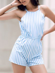 Backless Striped Spaghetti Straps Sleeveless Romper