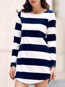 Stripe Round Neck Long Sleeve Dress