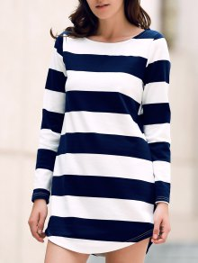 Stripe Round Neck Long Sleeve Dress