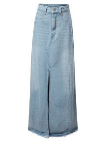 Front Slit Long Denim Skirt - Light Blue